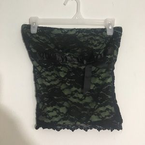 Black Lace Overlay Stretchy Tube Top